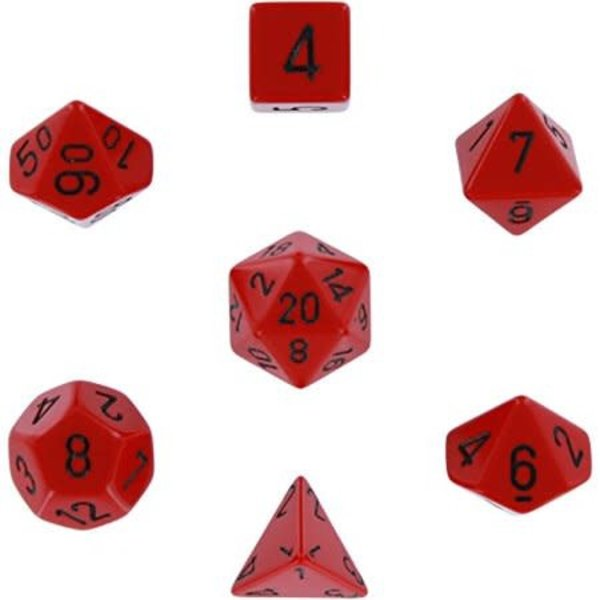 CHESSEX OPAQUE 7-DIE SET RED/BLACK