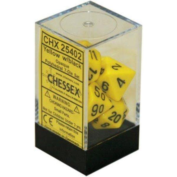 CHESSEX OPAQUE 7-DIE SET YELLOW/BLACK
