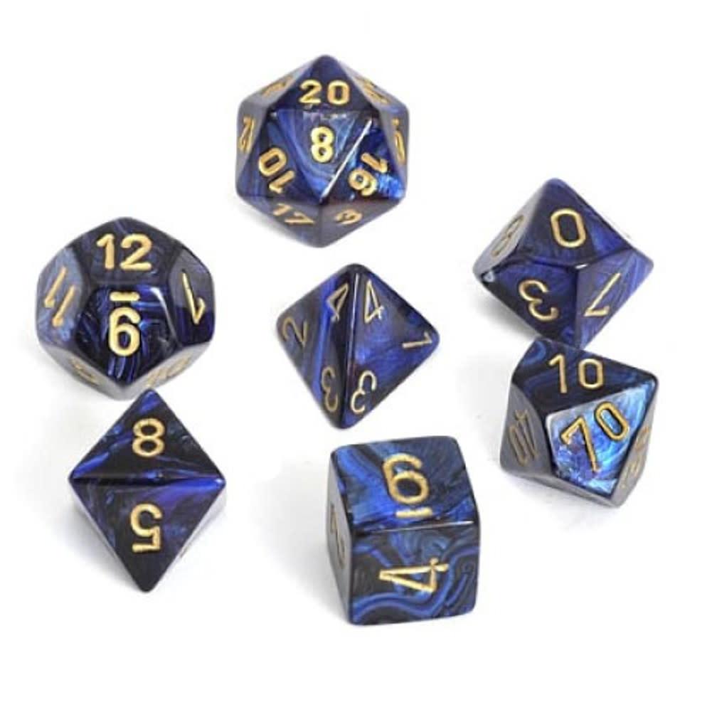 CHESSEX SCARAB 7-DIE SET ROYAL BLUE/GOLD