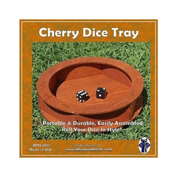 Blue Panther Games CIRCULAR WOODEN DICE TRAY - CHERRY