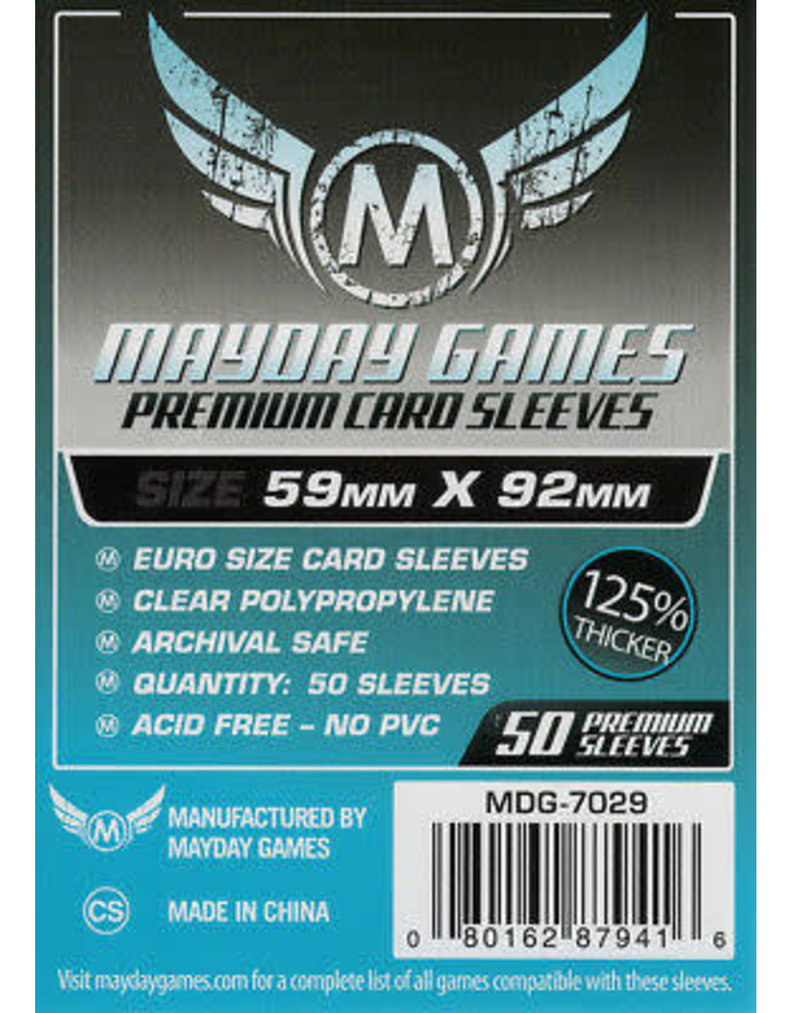 Mayday PREMIUM EURO SLEEVES 59MM X 92MM 50CT