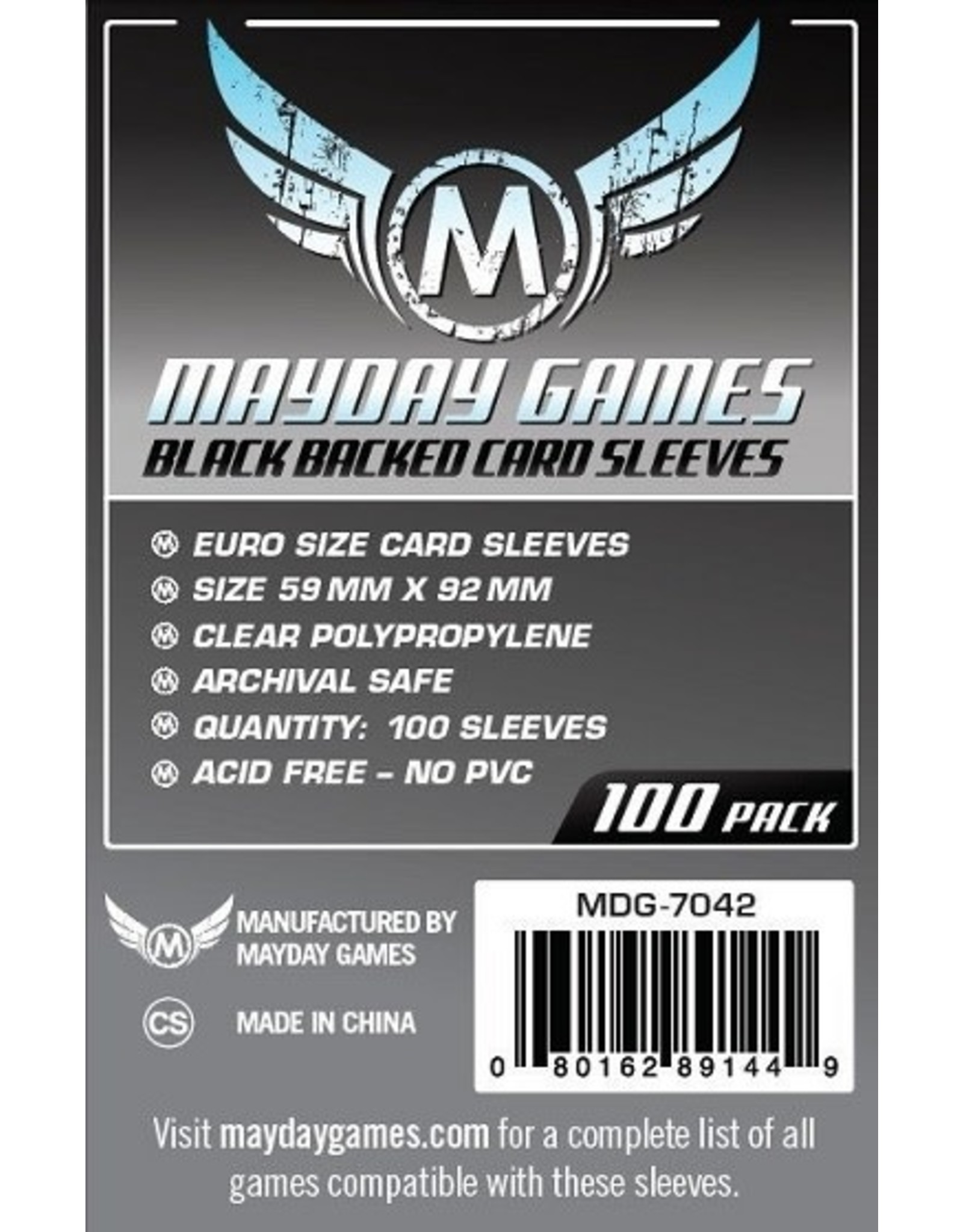 Mayday BLACK BACKED EURO SLEEVES 59mm x 92mm 100CT