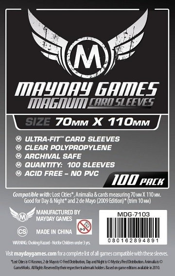 Mayday STANDARD MAGNUM LOST CITIES SLEEVES 70mm X 110mm 100CT