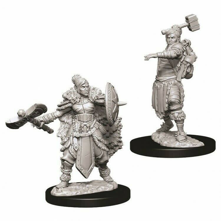 WIZKIDS DND UNPAINTED MINIS: FEMALE HALF-ORC BARBARIAN