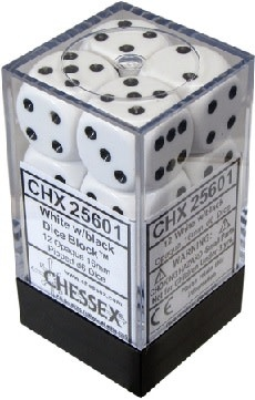 CHESSEX OPAQUE 12D6 WHITE/BLACK 16MM