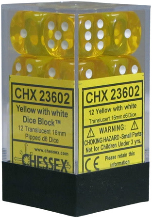 CHESSEX TRANSLUCENT 12D6 YELLOW/WHITE 16MM