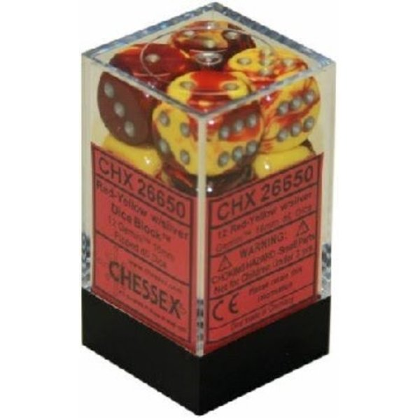 CHESSEX GEMINI 12D6 RED-YELLOW/SILVER 16MM
