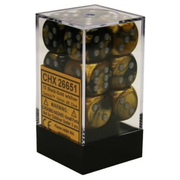 CHESSEX GEMINI 12D6 BLACK-GOLD/SILVER 16MM