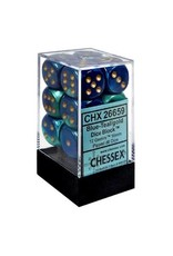 CHESSEX GEMINI 12D6 BLUE-TEAL/GOLD 16MM