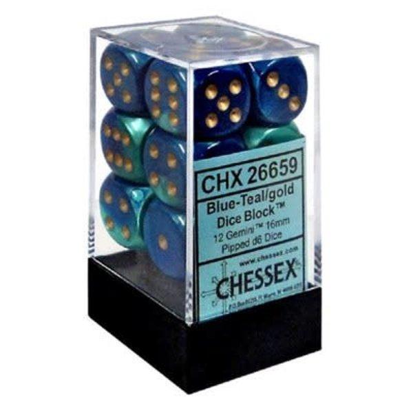 CHESSEX GEMINI 12D6 BLUE-TEAL/GOLD 16MM
