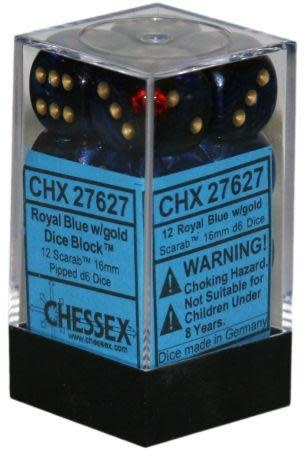 CHESSEX SCARAB 12D6 ROYAL BLUE/GOLD 16MM