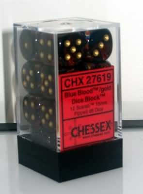 CHESSEX SCARAB 12D6 BLUE BLOOD/GOLD 16MM