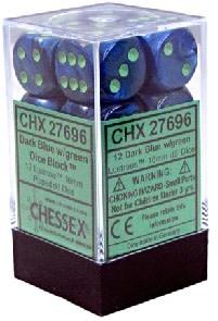 CHESSEX LUSTROUS 12D6 DARK BLUE/GREEN 16MM
