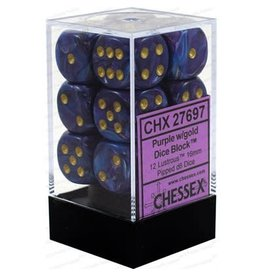 CHESSEX LUSTROUS 12D6 PURPLE/GOLD 16MM