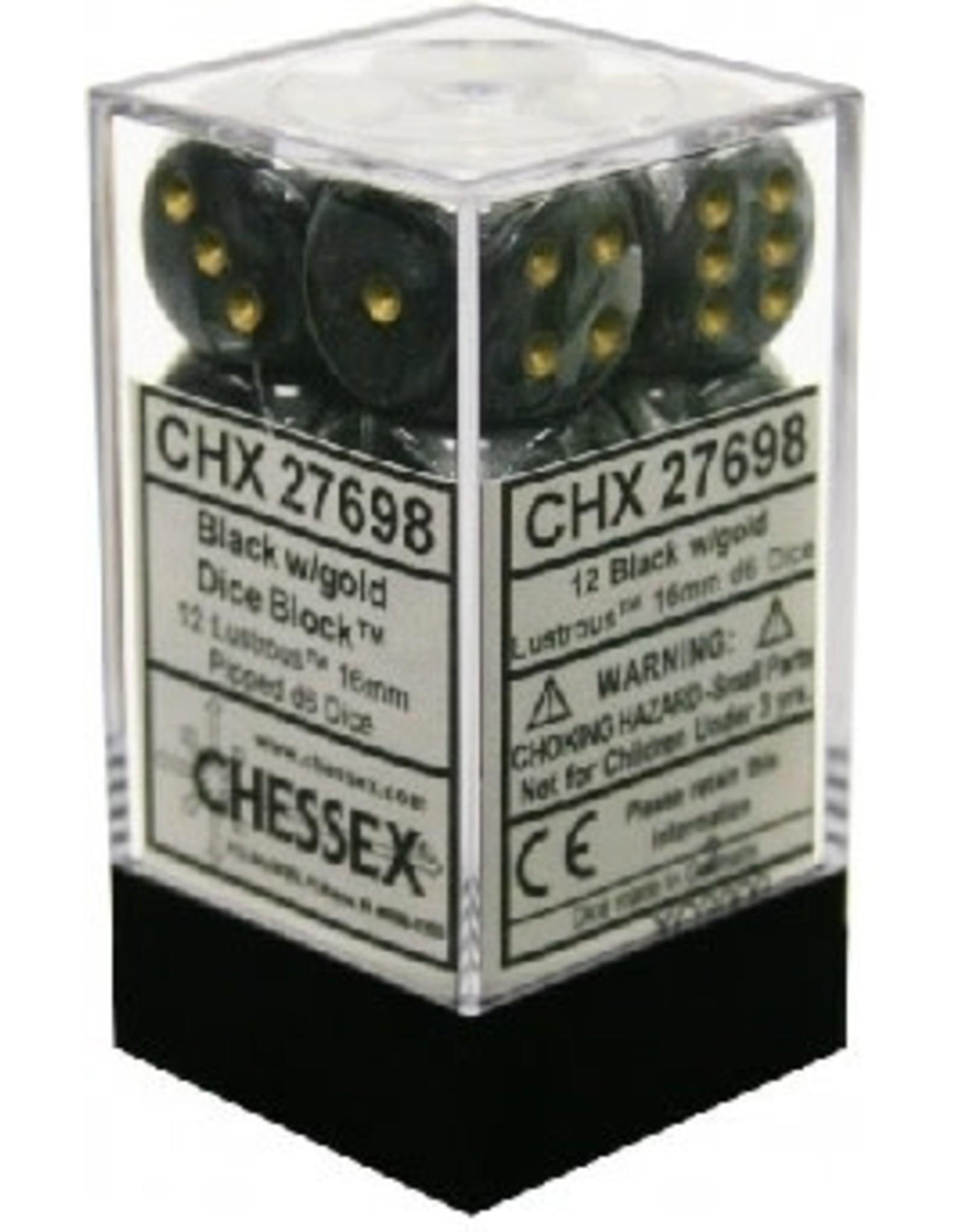 CHESSEX LUSTROUS 12D6 BLACK/GOLD 16MM