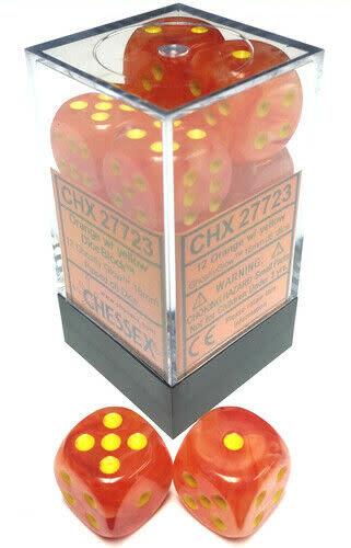 CHESSEX GHOSTLY GLOW 12D6 ORANGE /YELLOW 16MM