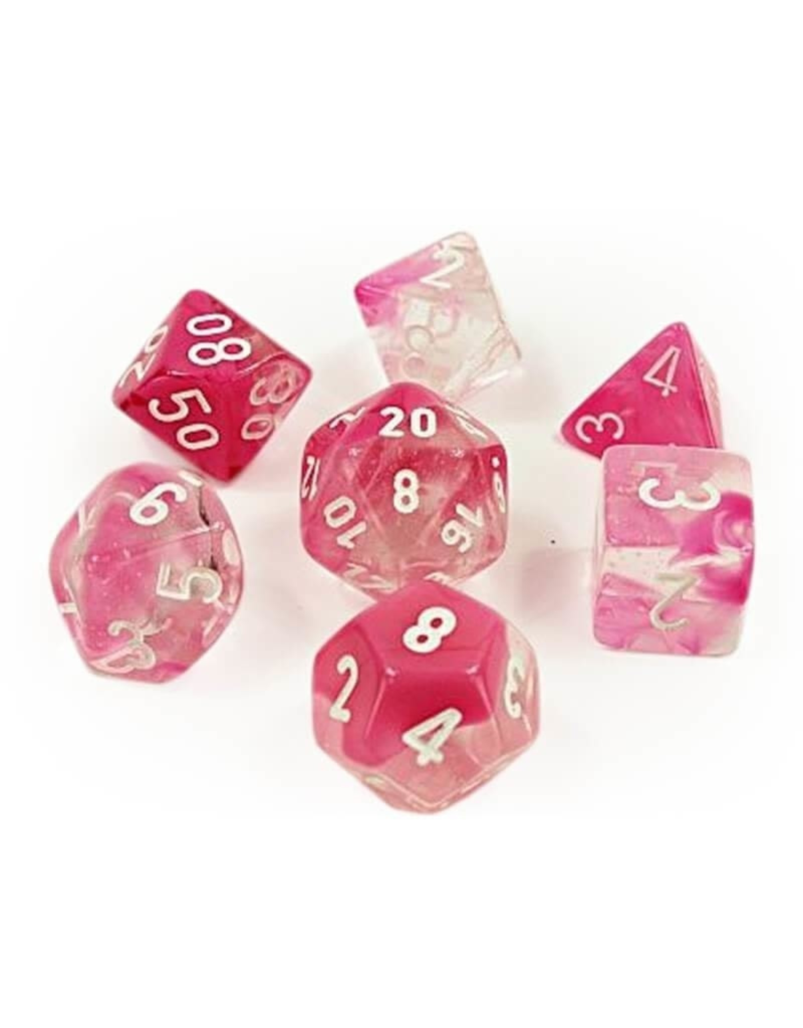 CHESSEX GEMINI 7-DIE SET CLEAR-PINK/WHITE LUMINARY (Lab Dice)