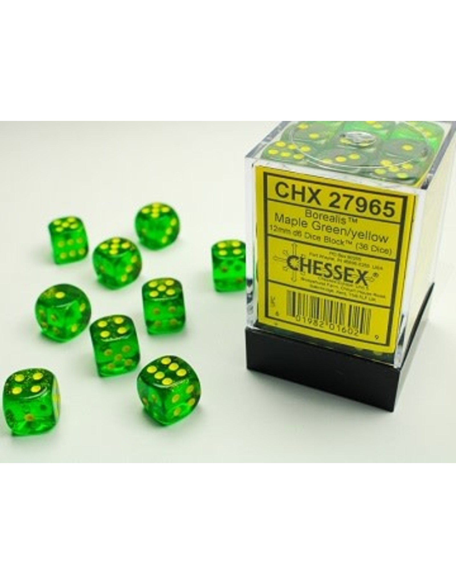CHESSEX BOREALIS 36D6 MAPLE GREEN/YELLOW 12MM