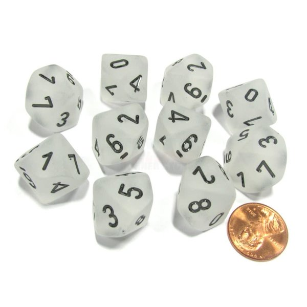 CHESSEX FROSTED 10D10 CLEAR/BLACK