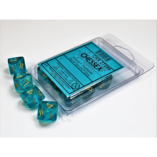 CHESSEX BOREALIS 10D10 TEAL/GOLD