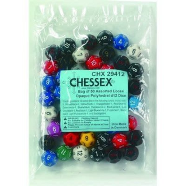 CHESSEX Opaque: Bag Of 50 Assorted D12