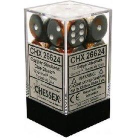 CHESSEX GEMINI 12D6 COPPER-STEEL/WHITE 16MM