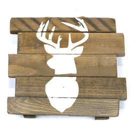 Sign with deer print historic wood 19.5x18.5x3.5cm 1pc mix box assorted 2