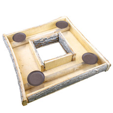 Bark square candle holder 45x45x6cm