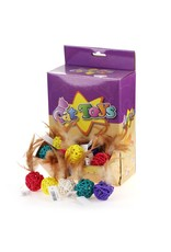Cat Toys - Braided Ball + Bell + Feather