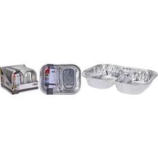 2 Compartment Grill Plate - Alumin 35x26x6cm set of 2pcs