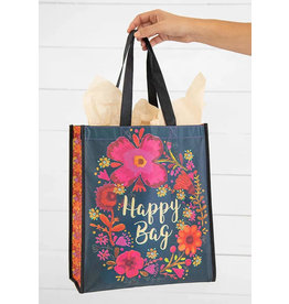 Natural Life - Happy Bag Turquoise with Gold Letters XL