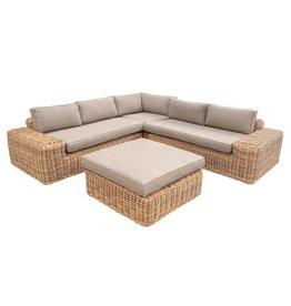 Yate Lounge Corner Set - Light Yellow Wicker/Sand Cushion