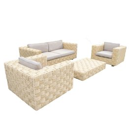 Newton Lounge - 4 Pieces - Light Yellow Wicker Natural/ Light Brown Cushion