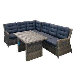 Saint Lucia - Adjustable Corner Set - Grey Wicker/Royal Dark Grey Cushions