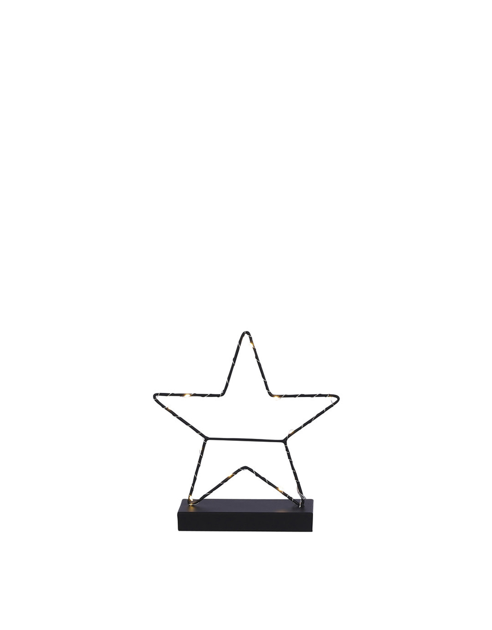 Decoration star black 12 led battery operated- w7xd25cm