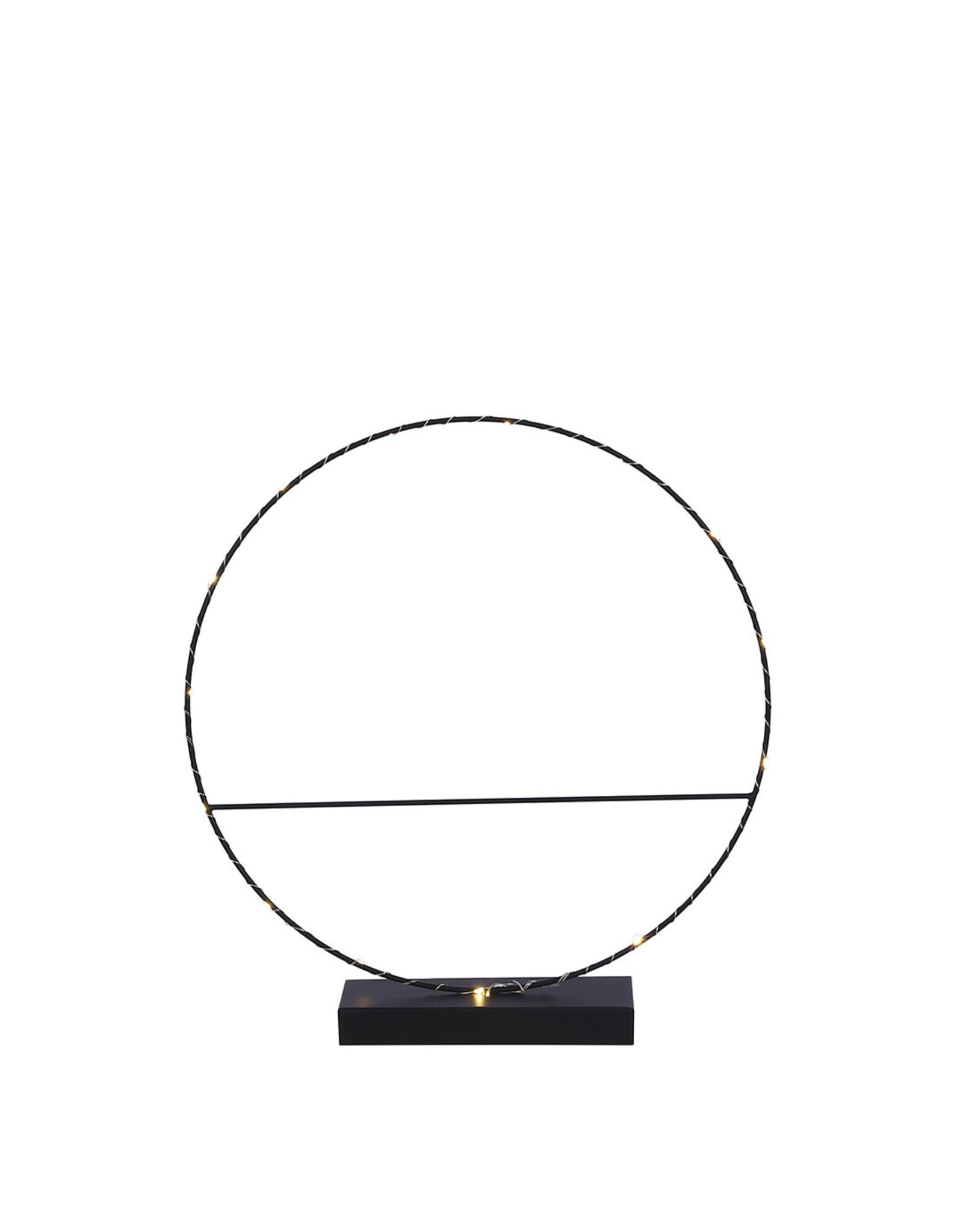 Decoration circle black 15 led battery operated - w7xd40cm