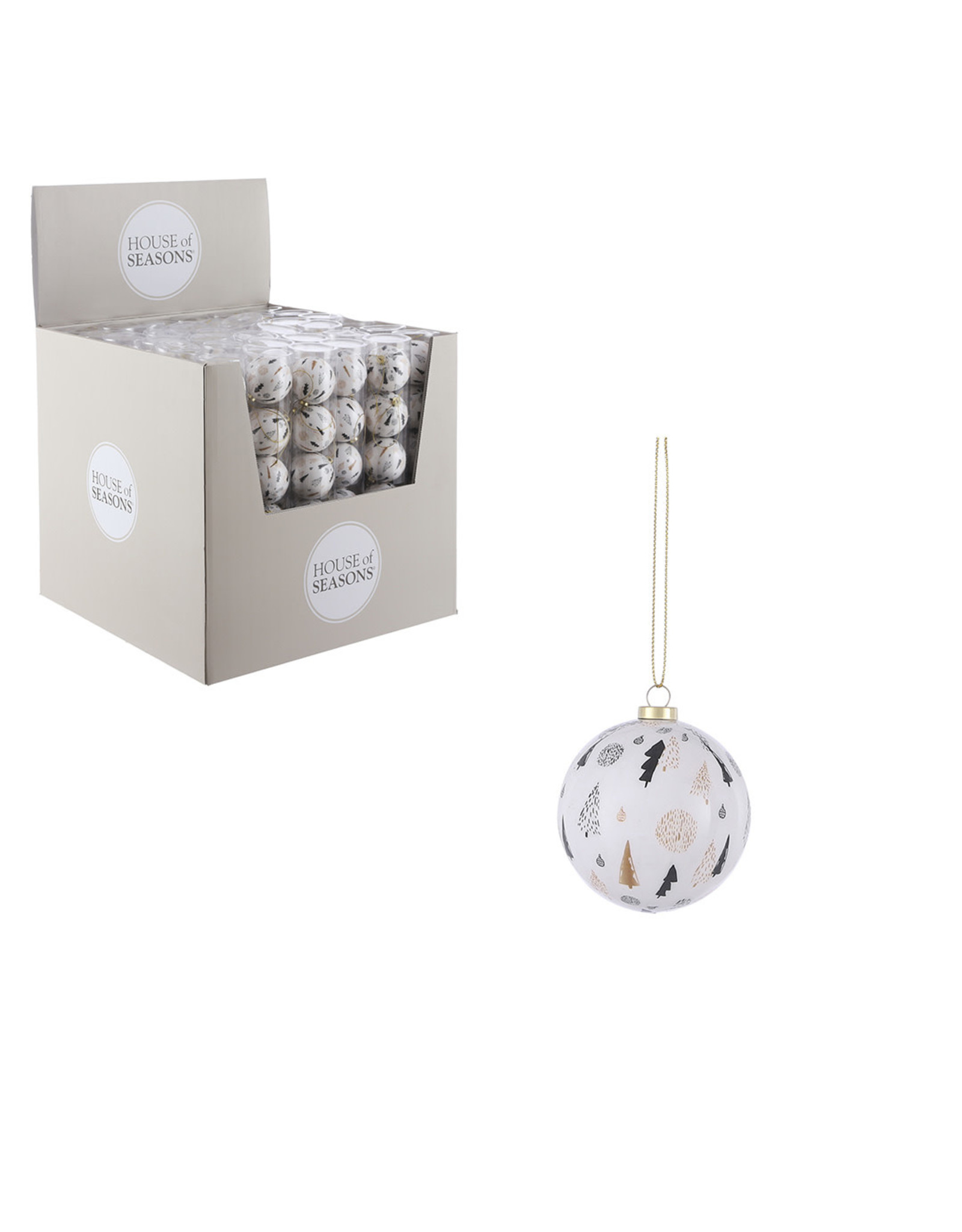 Bauble unbreakable tree white 6 pieces display - d6.5cm