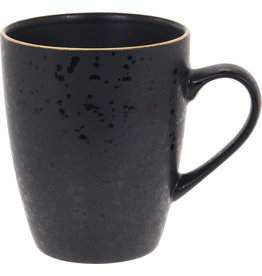 Koopman Mug Stoneware 300ml Black with Gold
