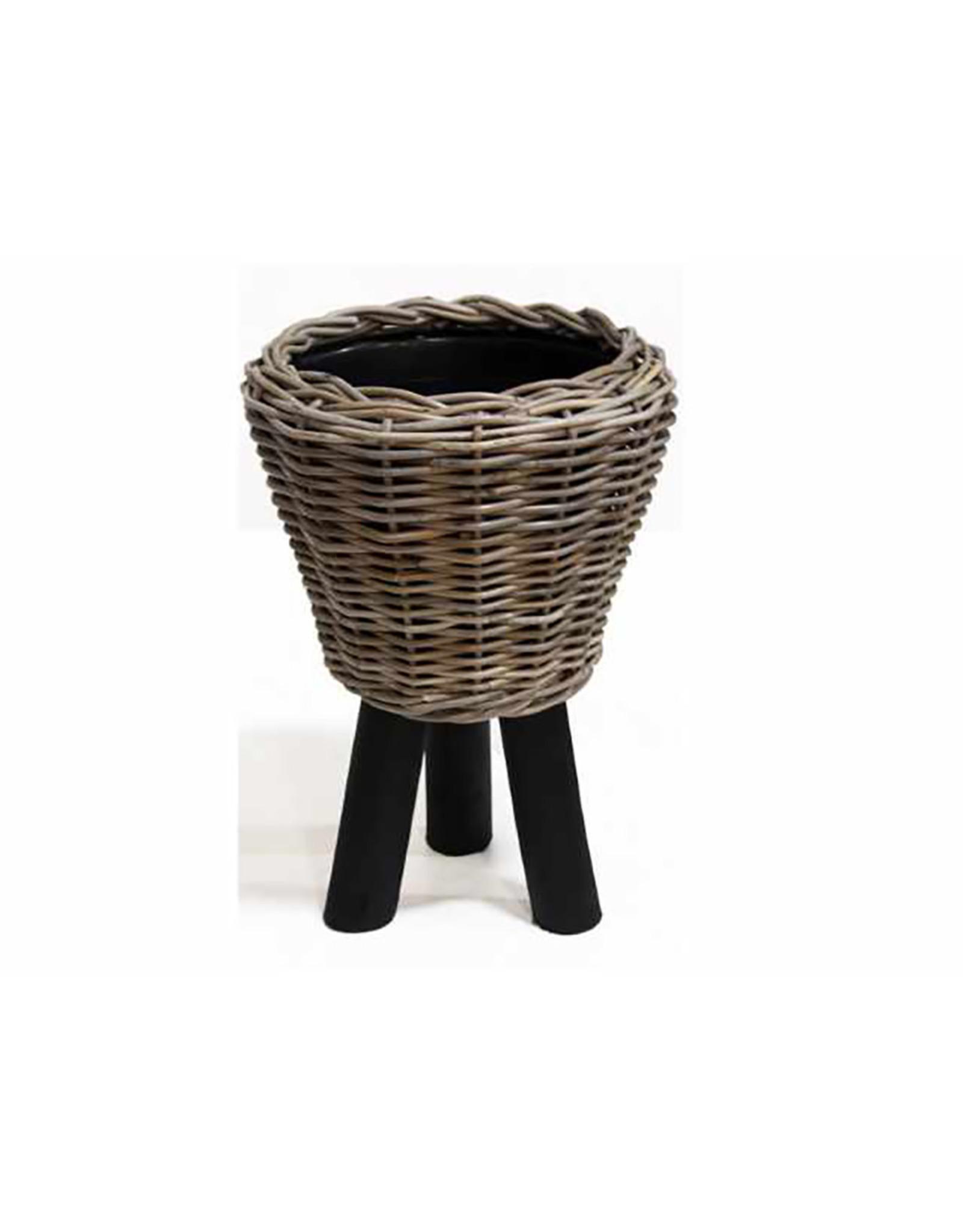 Van der Leeden Mandwerk Drypot Wooden Legs Black