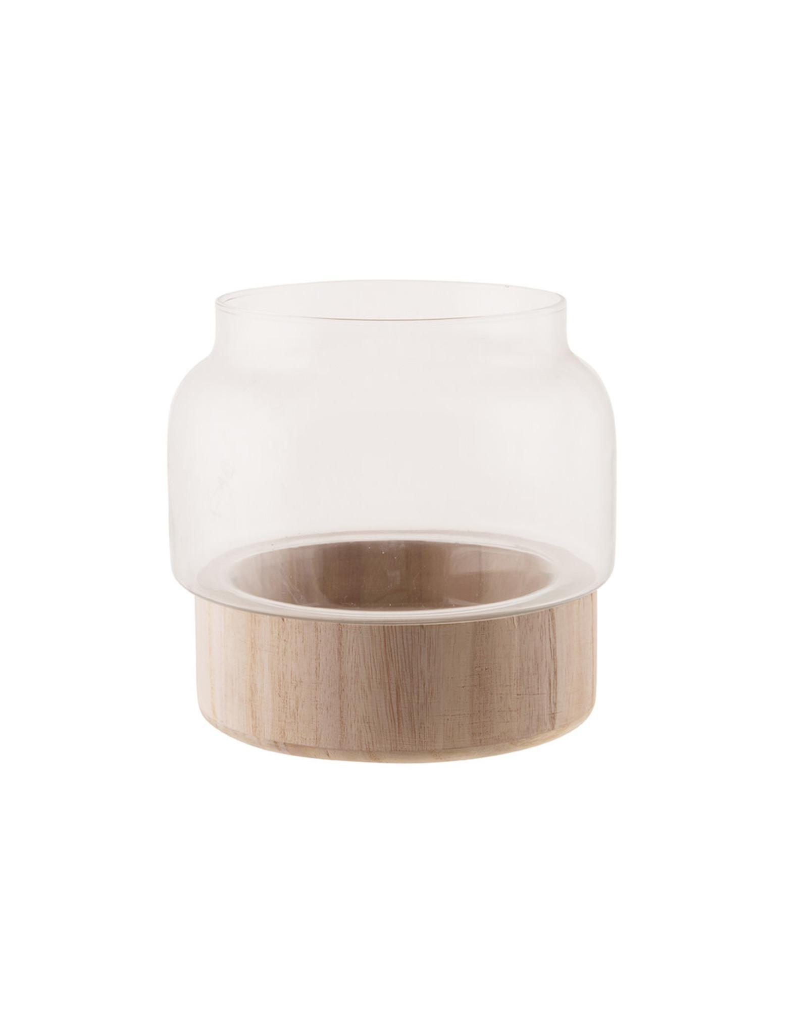 Dijk Glass vase with wooden base 17.6x17.6x17cm