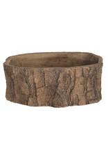 Dijk Cement deco pot ''Wooden log'' natural 26.5x16x10.5cm