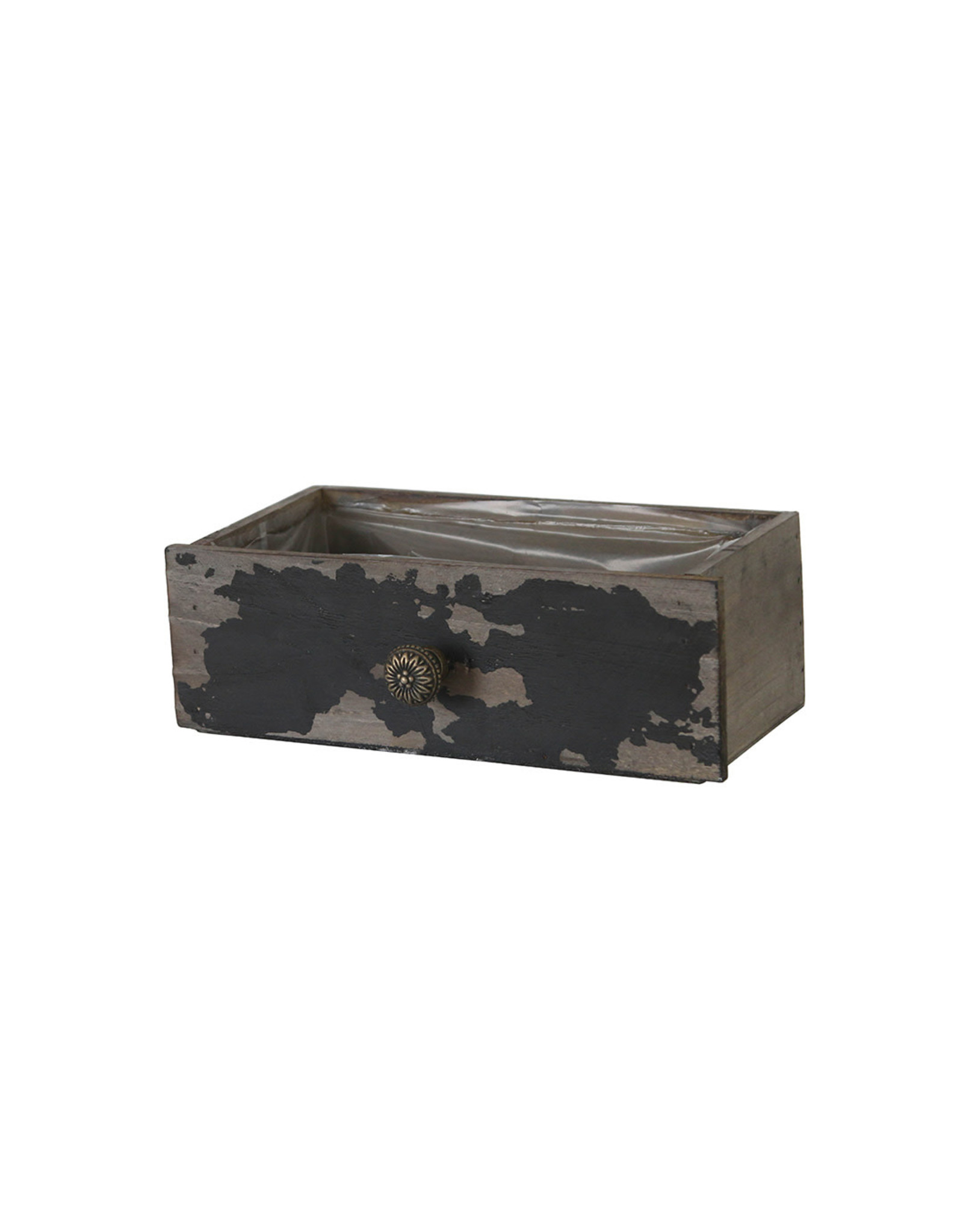 Dijk Drawer planter wood antique black 27/25x12.5x9cm