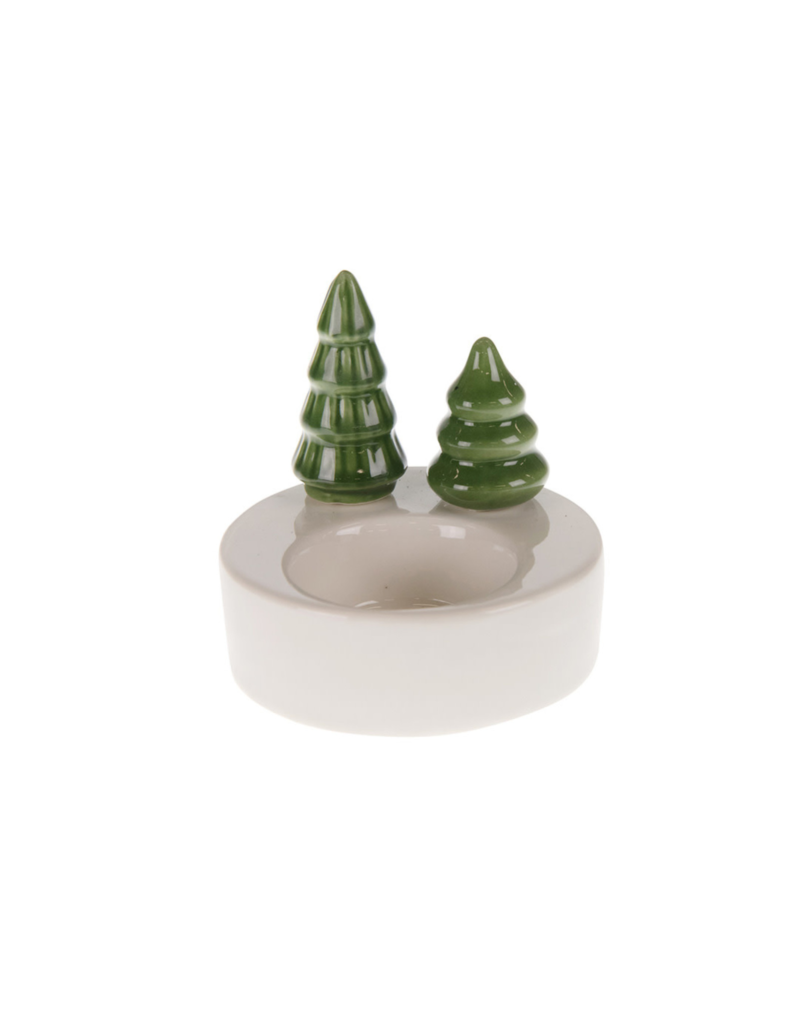 Dijk Candle holder porcelain white/green8x8x8cm