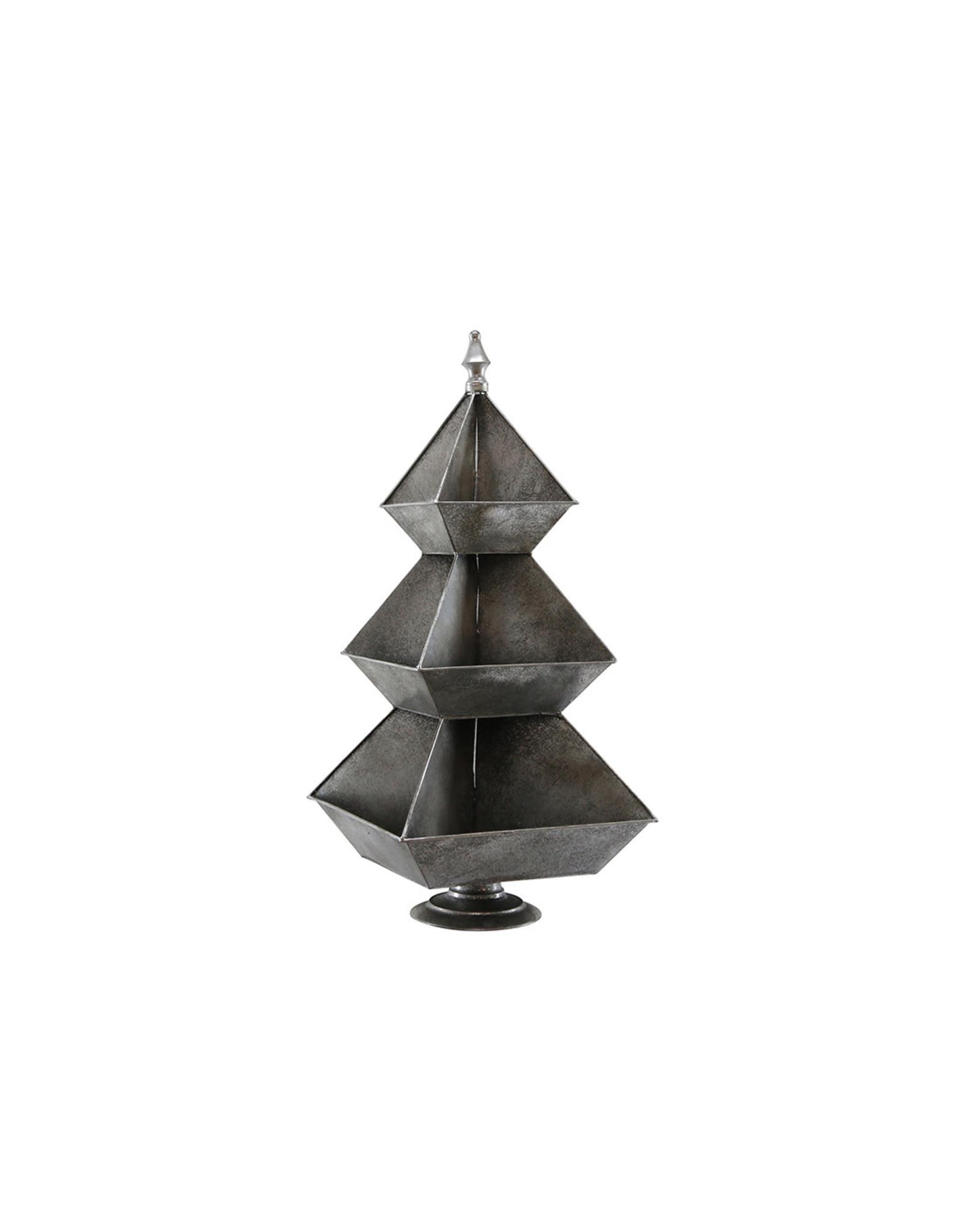 Dijk Etagiere tree metal brushed silver 36x36x79cm