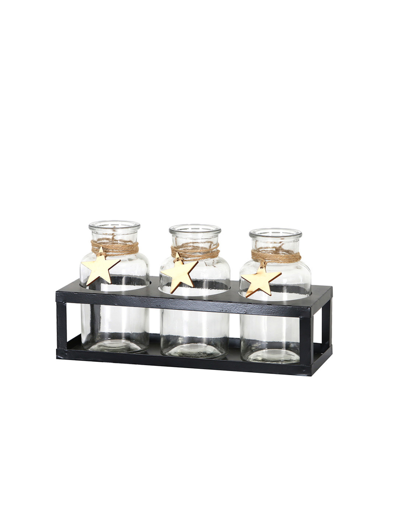Dijk Bottles in stand glass/metal black 25x9x13cm