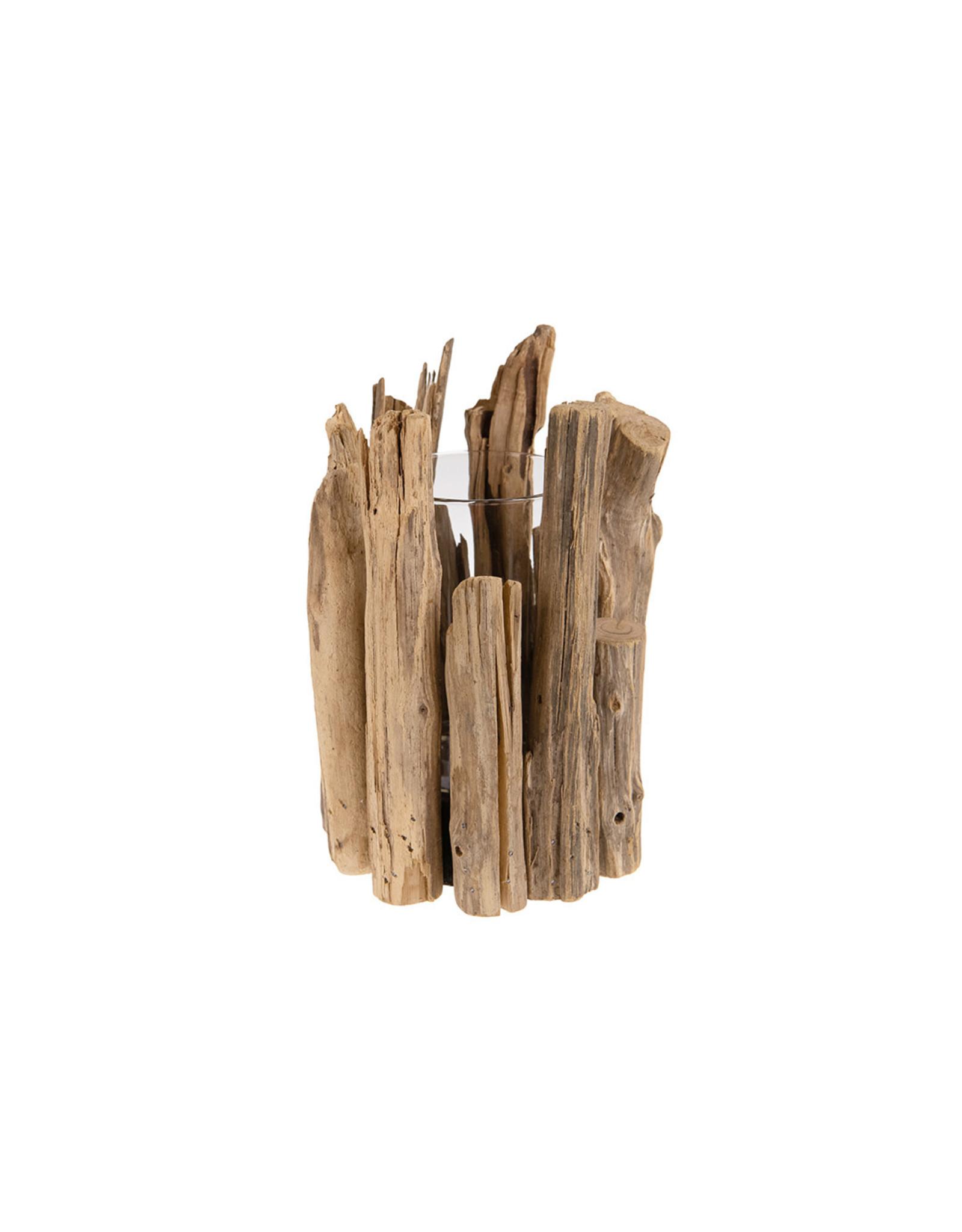 Dijk Candle holder chestnut wood natural 18x18x24cm
