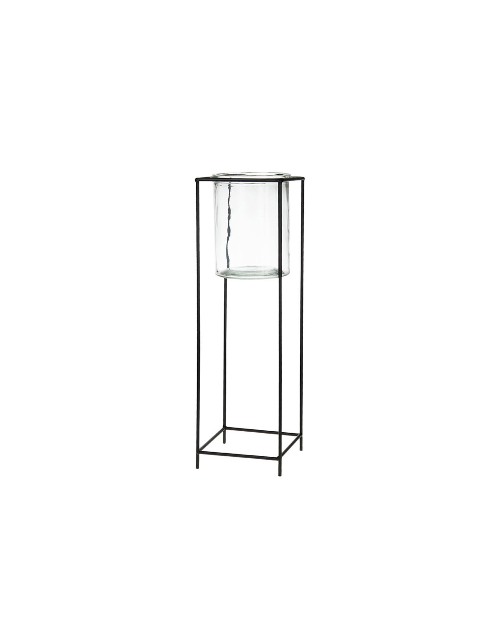 Dijk Candle holder glass/metal black 16x16x51cm