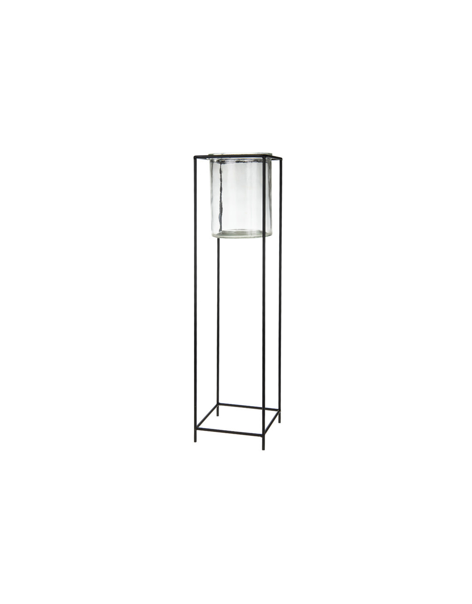 Dijk Candle holder glass/metal black16x16x61cm