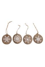 Dijk Hanger snowflake hist wood  nat/white 17x1.5cm
