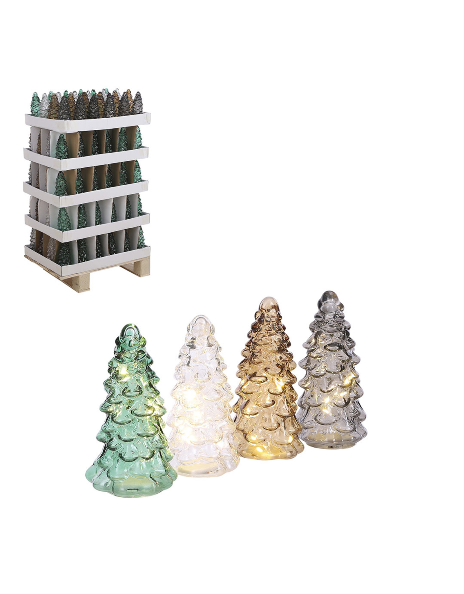 Glass Tree - 10 Led Battery Operated - h22xd9.5cm